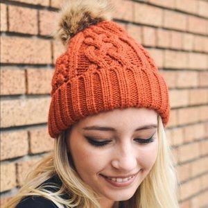 Orange Pom Pom Vegan Friendly Winter Beanie OS